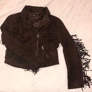Faux suede western jacket